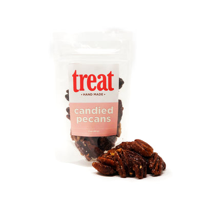Enjoy glazed pecans made in small batches from Treat. Our gourmet candied pecans explode with flavor and are the perfect gift for any season.