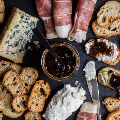 Our fig jam - Figs and Black Tea - pairs well with just about any good cheese or cured meats.