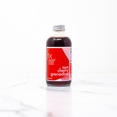 Tart Cherry Grenadine simple syrup from Fix in an 8 oz bottle