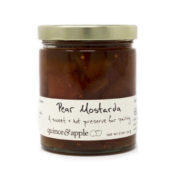Our Pear Mostarda is based on a 15th Century recipe. Try this traditional Italian pear preserve, fresh from the Quince & Apple kitchen.