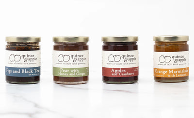 Our gourmet preserves gift set featuring four jars of gourmet jams