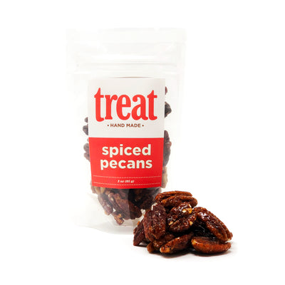 Enjoy our 3 oz bag of spiced pecans, made in small batches from Treat. Our gourmet flavored pecans explode with flavor and are the perfect gift for any season.