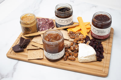 A holiday cheese spread made with Quince and Apple's Tastes of the Midwest Gift Box