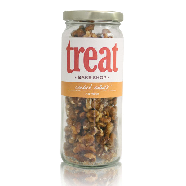 Enjoy candied walnuts made in small batches from Treat. Our gourmet flavored nuts explode with flavor and are the perfect gift for any season.