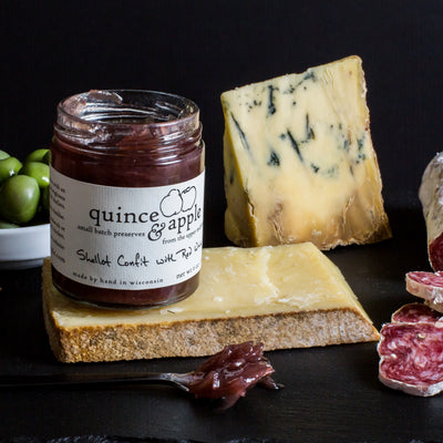 Pair Shallot Confit with Red Wine with salami, blue cheese or Gruyere
