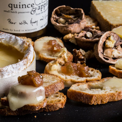 Pair our Pear with Honey and Ginger preserves with toasted nuts, bandaged cheddar and baked brie