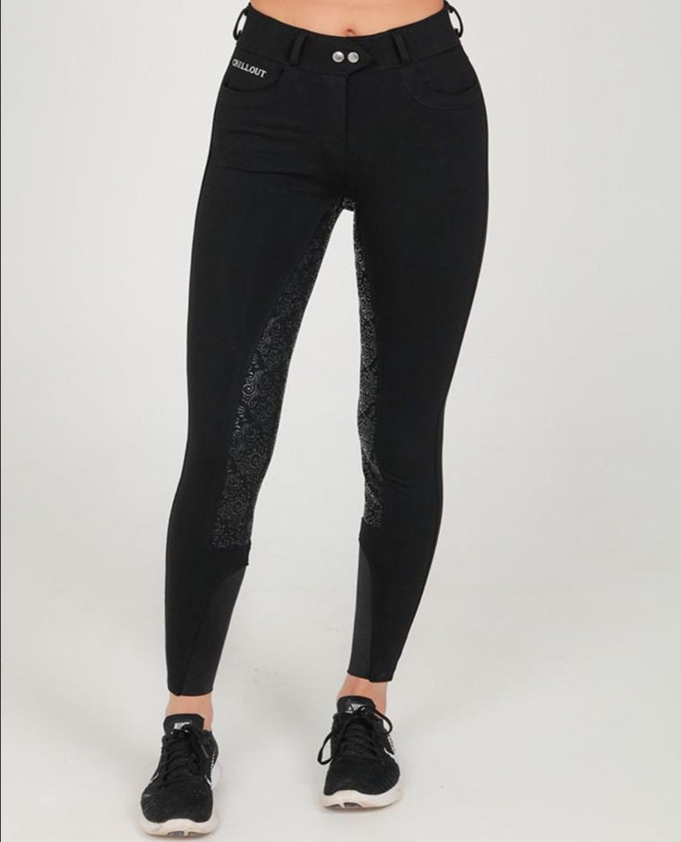 BLACK FULL SEAT SILICONE BREECHES