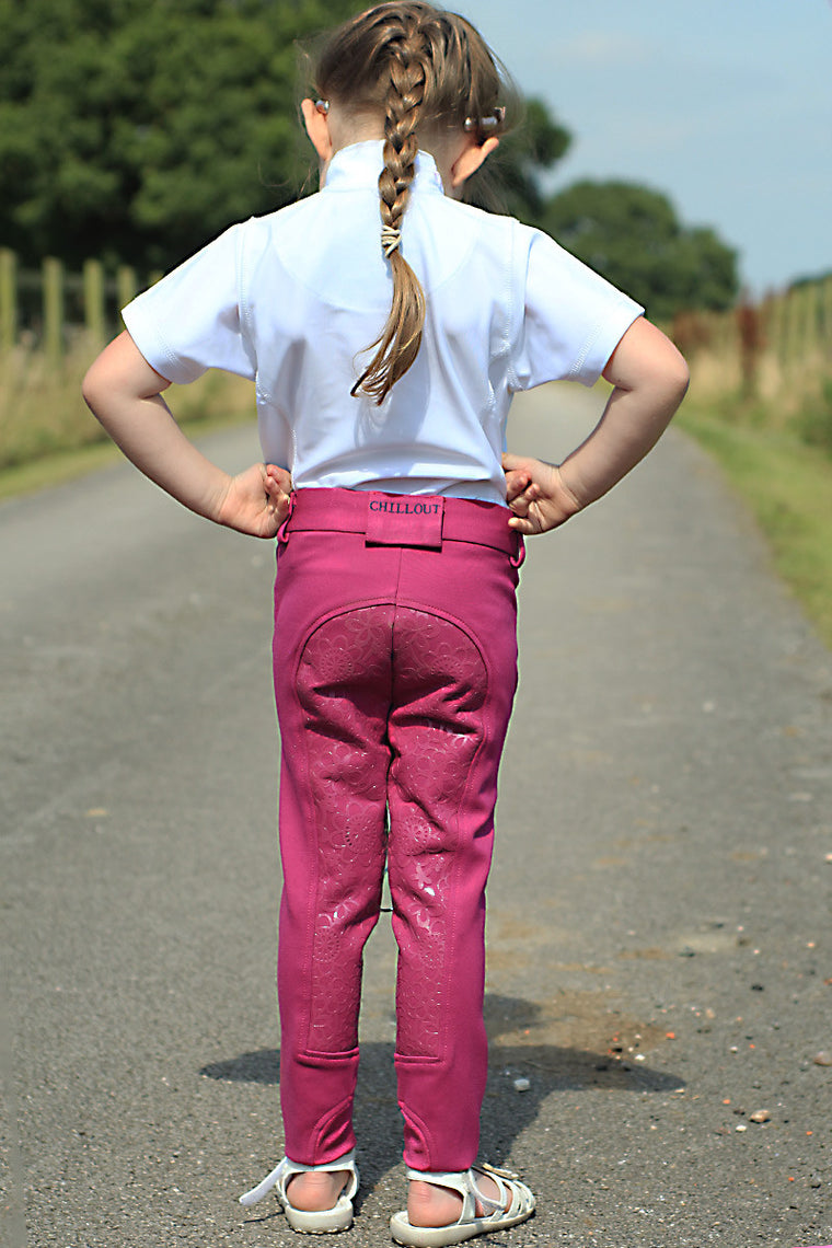 CHILDS SILICONE SEAT BREECHES PINK
