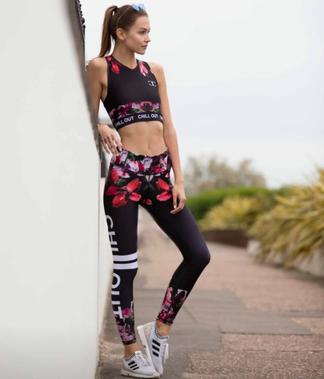 Floral Black sports leggings