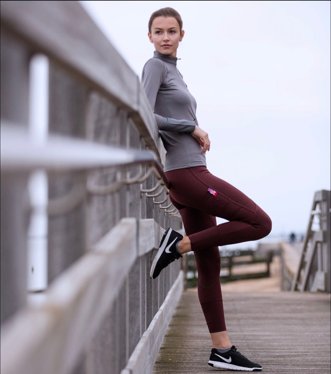 Silicone knee Technical Sports Leggings Plum