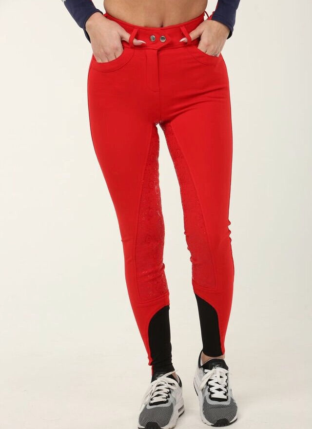 Full Seat Silicone Breeches Red