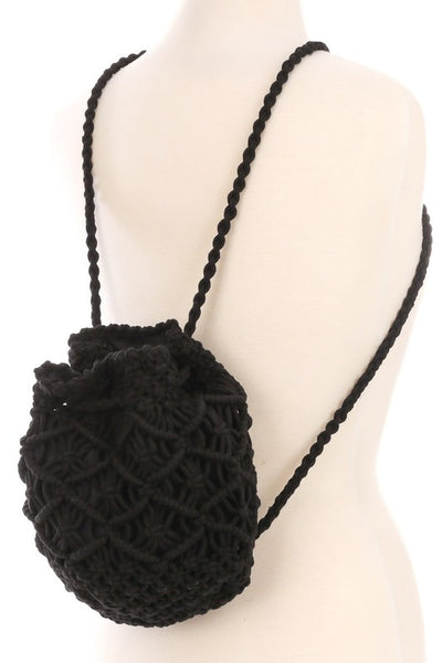 New Item! Crochet Knit Drawstring Backpack