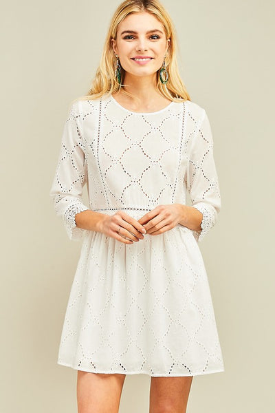 Crochet scoop-neck dress in Off White