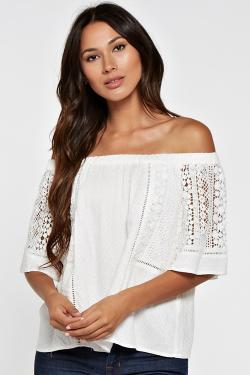 OFF SHOULDER LACE INSET TOP