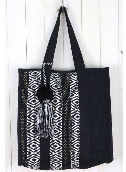 Ecot & Metallic Stripe Shopper Tote with Tassel