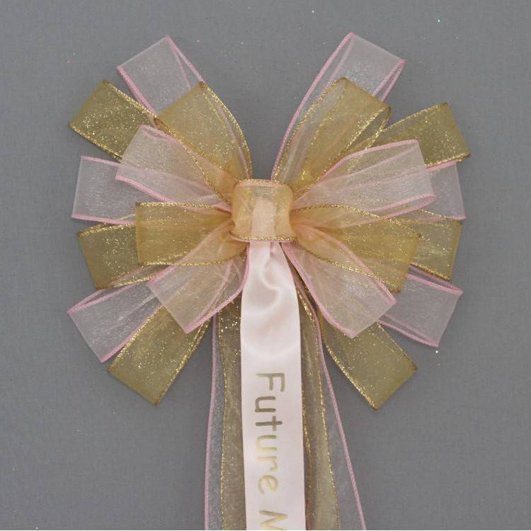 Pink and gold personalized Bridal Shower Bow
