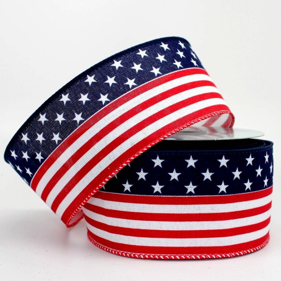 "2.5"" Continuous Flag Wire Edge Ribbon (10 Yards) - Package Perfect Bows"