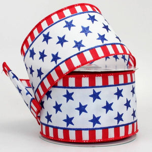 "2.5"" Sparkle Stars Stripe Patriotic Wire Edge Ribbon (10 Yards) - Package Perfect Bows"