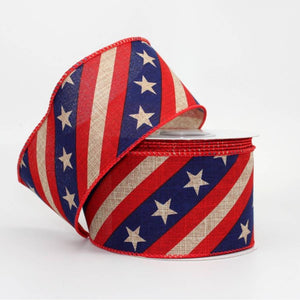 "2.5"" Rustic Patriotic Banner Wire Edge Ribbon (10 Yards) - Package Perfect Bows"