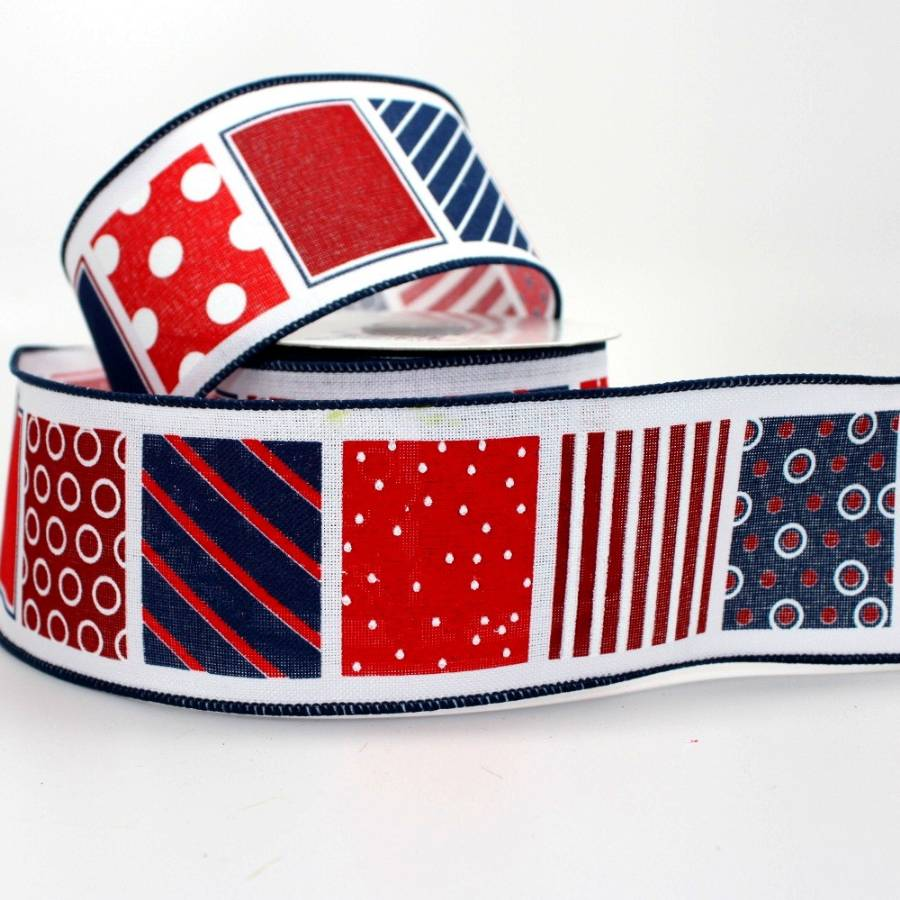 "2.5"" Patriotic Blocks Wire Edge Ribbon (10 Yards) - Package Perfect Bows"