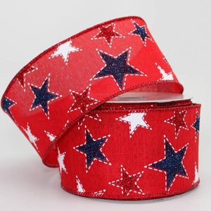 "2.5"" Sparkle Stitched Stars Patriotic Wire Ribbon (10 Yards) - Package Perfect Bows"