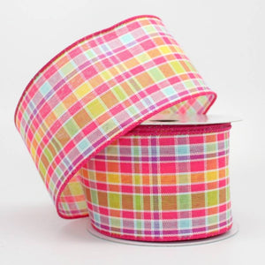 "2.5"" Spring Plaid Wire Edge Ribbon (10 yards) - Package Perfect Bows"