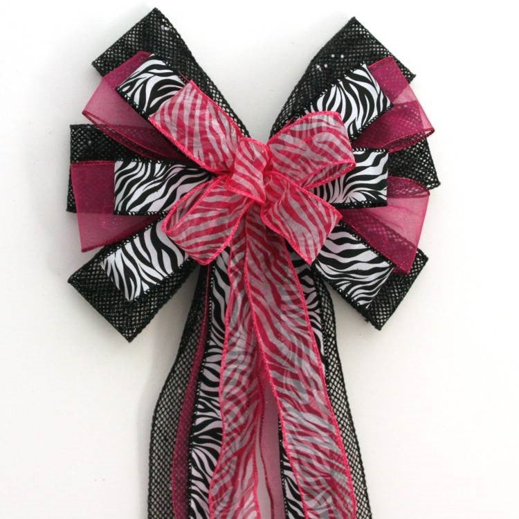 Fuchsia Black Zebra Sweet 16 Birthday Bow - Package Perfect Bows - 1