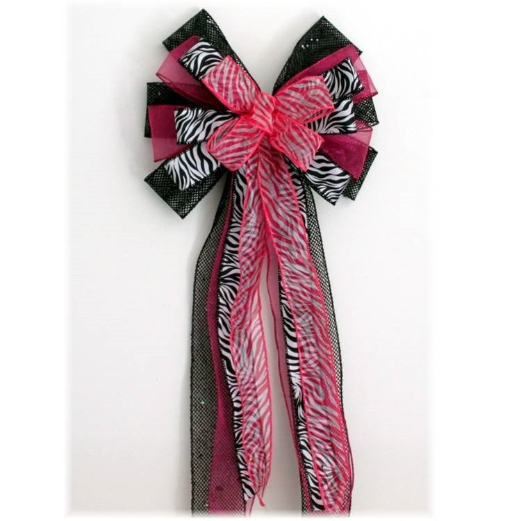 Fuchsia Black Zebra Sweet 16 Birthday Bow - Package Perfect Bows - 2