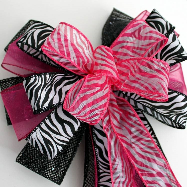 Fuchsia Black Zebra Sweet 16 Birthday Bow - Package Perfect Bows - 3