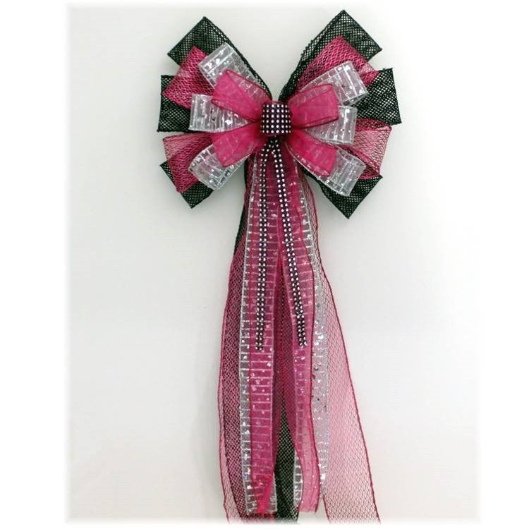 Fuchsia Black Mesh Bling Sweet 16 Birthday Bow - Package Perfect Bows
