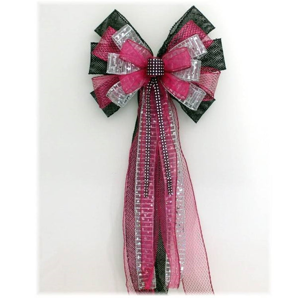 Fuchsia Black Mesh Bling Sweet 16 Birthday Bow - Package Perfect Bows - 1
