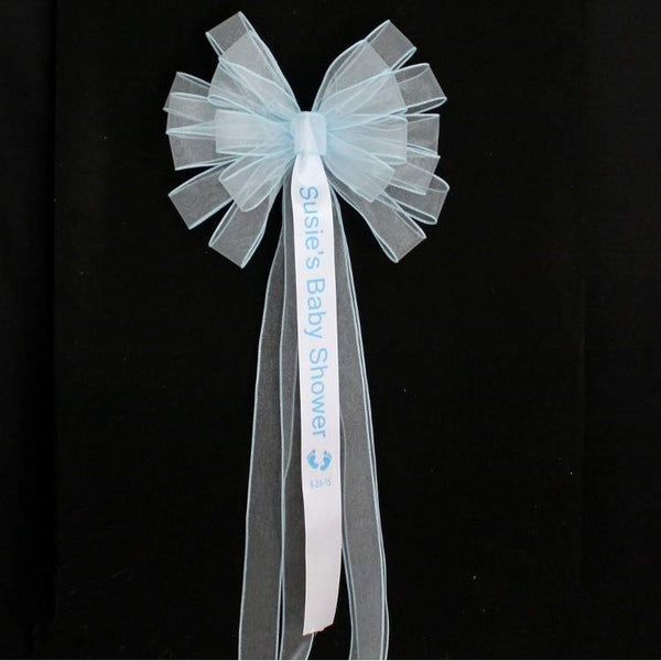 Personalized Blue Baby Boy Shower Bow - Package Perfect Bows - 1