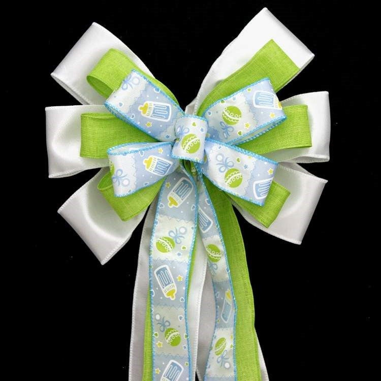 Blue Bottle Rattle Boy Baby Shower Bow - Package Perfect Bows - 1