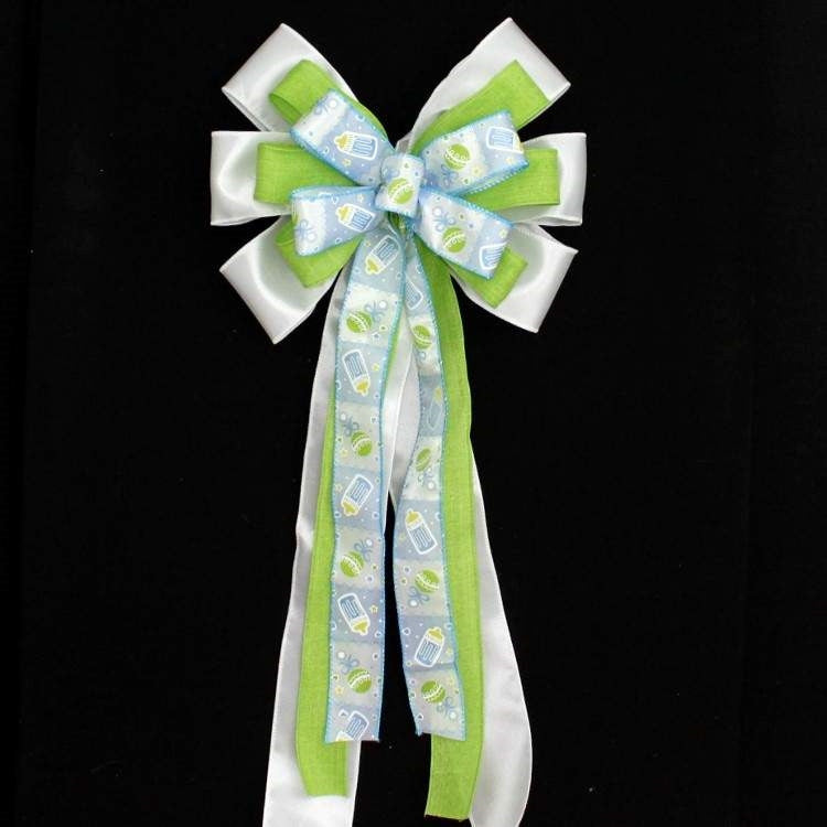 Blue Bottle Rattle Boy Baby Shower Bow - Package Perfect Bows - 2