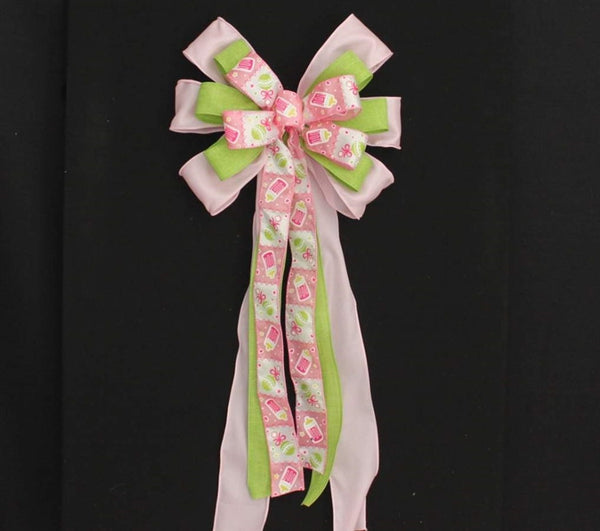 Pink Bottle Rattle Girl Baby Shower Bow - Package Perfect Bows - 1