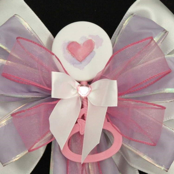 Pink Heart Rattle Girl Baby Shower Bow - Package Perfect Bows - 1