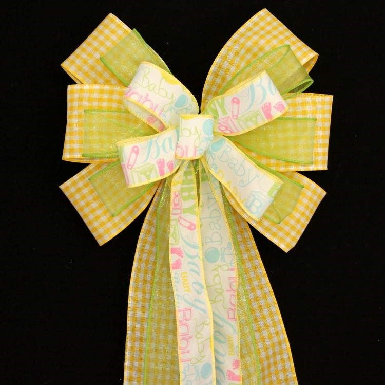 Yellow Gingham Baby Script Shower Bow - Package Perfect Bows - 2