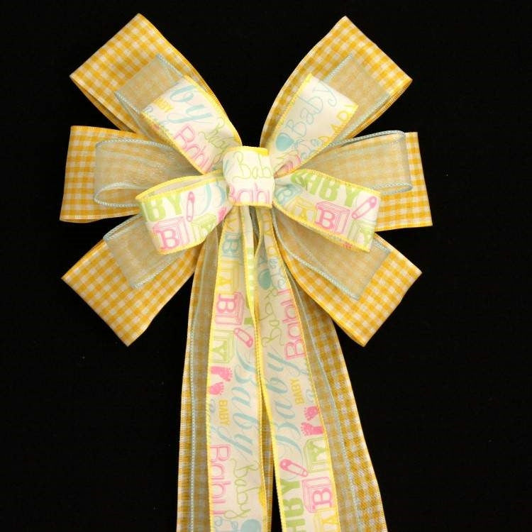 Yellow Gingham Baby Script Shower Bow - Package Perfect Bows - 3