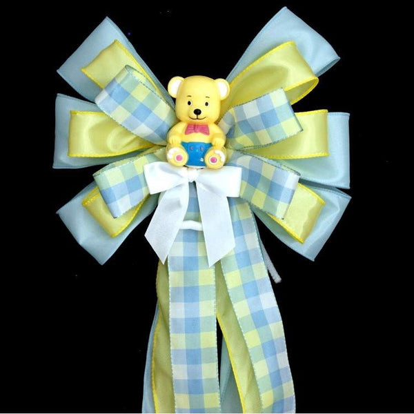 Yellow Bear Plaid Baby Shower Bow - Package Perfect Bows - 1