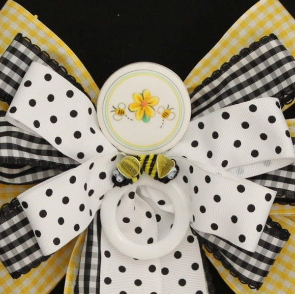 Yellow Bumble Bee Baby Shower Bow - Package Perfect Bows - 1