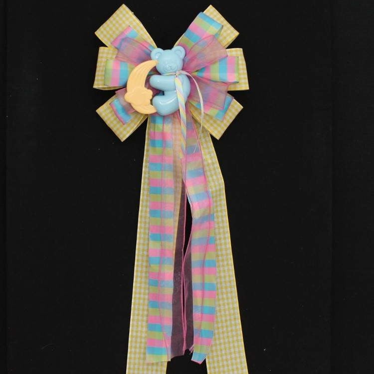 Blue Bear Yellow Gingham Baby Shower Bow - Package Perfect Bows - 3