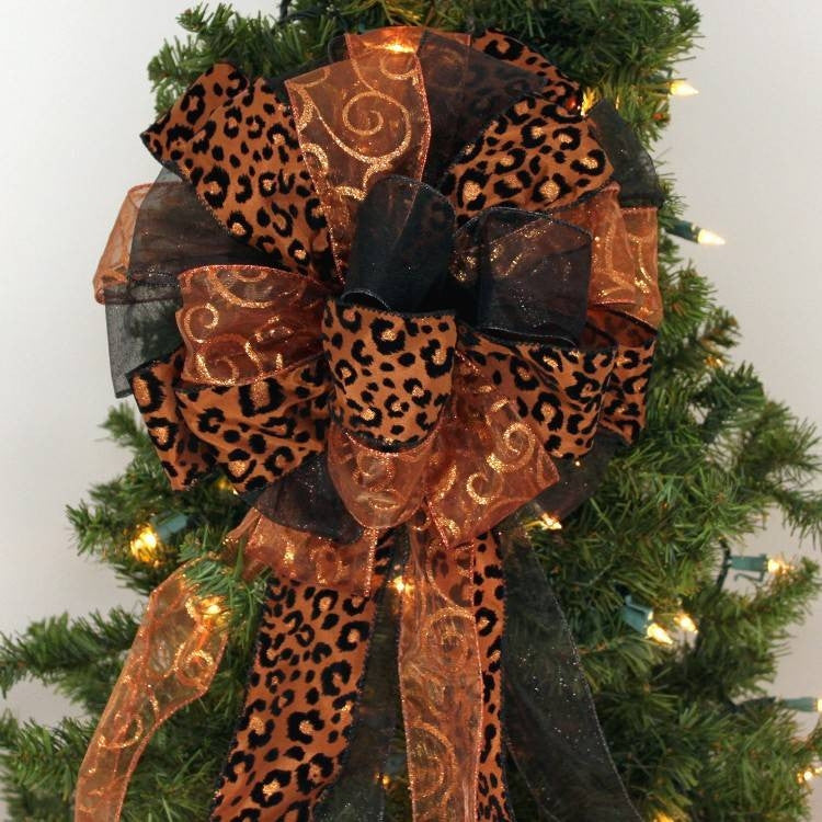 Nice Brown Leopard Copper Swirl Black Christmas Bow   Package Perfect Bows   1  ...