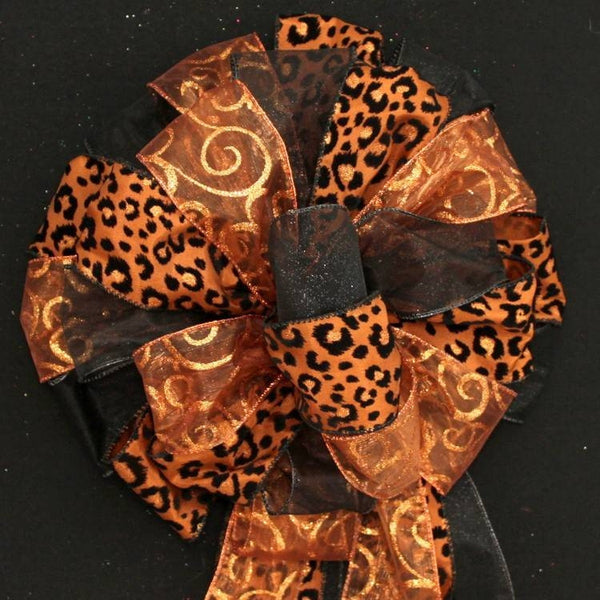 Brown Leopard Copper Swirl Black Christmas Bow - Package Perfect Bows - 1