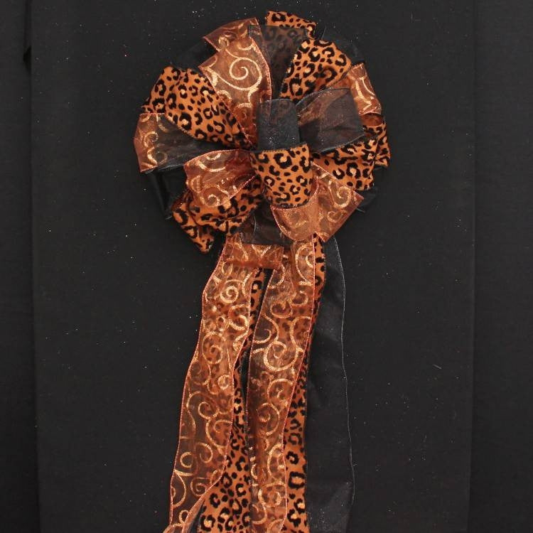 Brown Leopard Copper Swirl Black Christmas Bow - Package Perfect Bows - 3