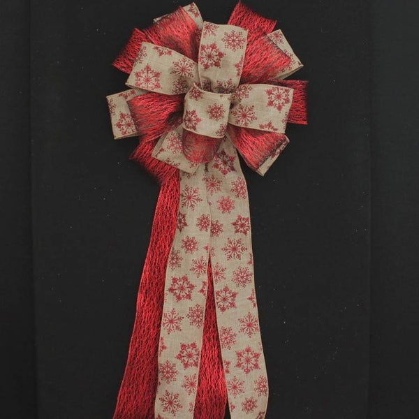 Red Glitter Snowflake Mesh Bow - Package Perfect Bows - 1