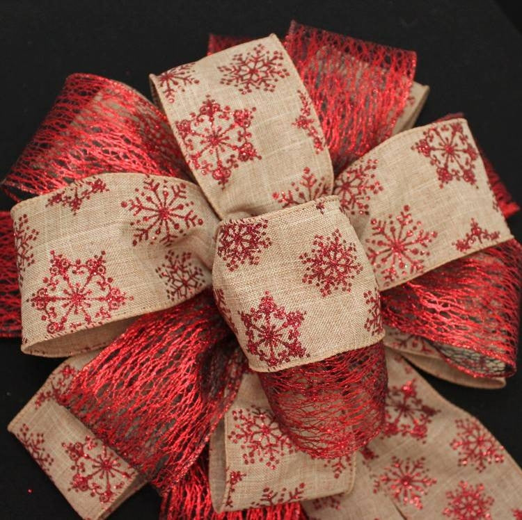 Red Glitter Snowflake Mesh Bow - Package Perfect Bows - 3