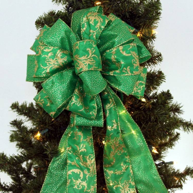 Emerald Green Gold Sparkle Christmas Bow - Package Perfect Bows - 1