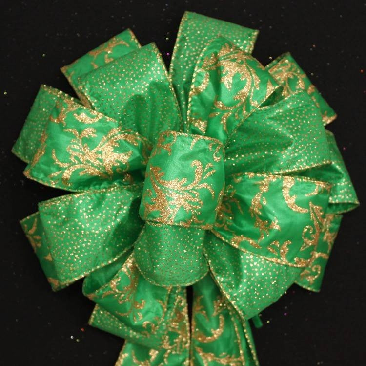 Emerald Green Gold Sparkle Christmas Bow - Package Perfect Bows - 2