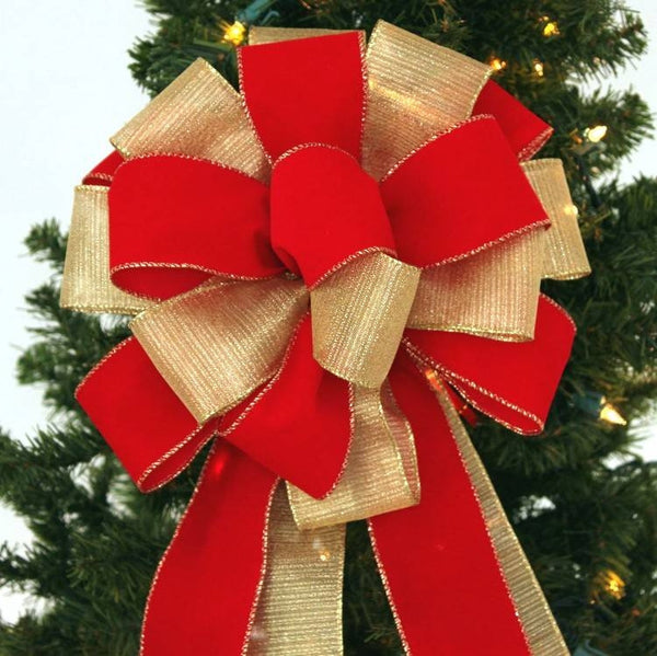 Red And Gold Velvet Christmas Wreath Bow Tree Topper