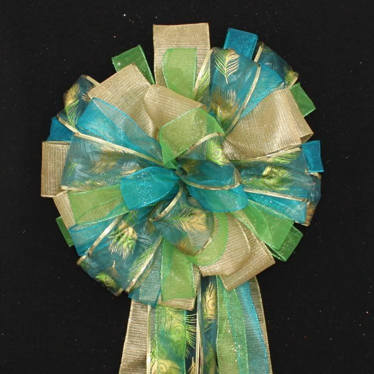 Peacock Sparkle Christmas Tree Topper Bow - Package Perfect Bows - 2